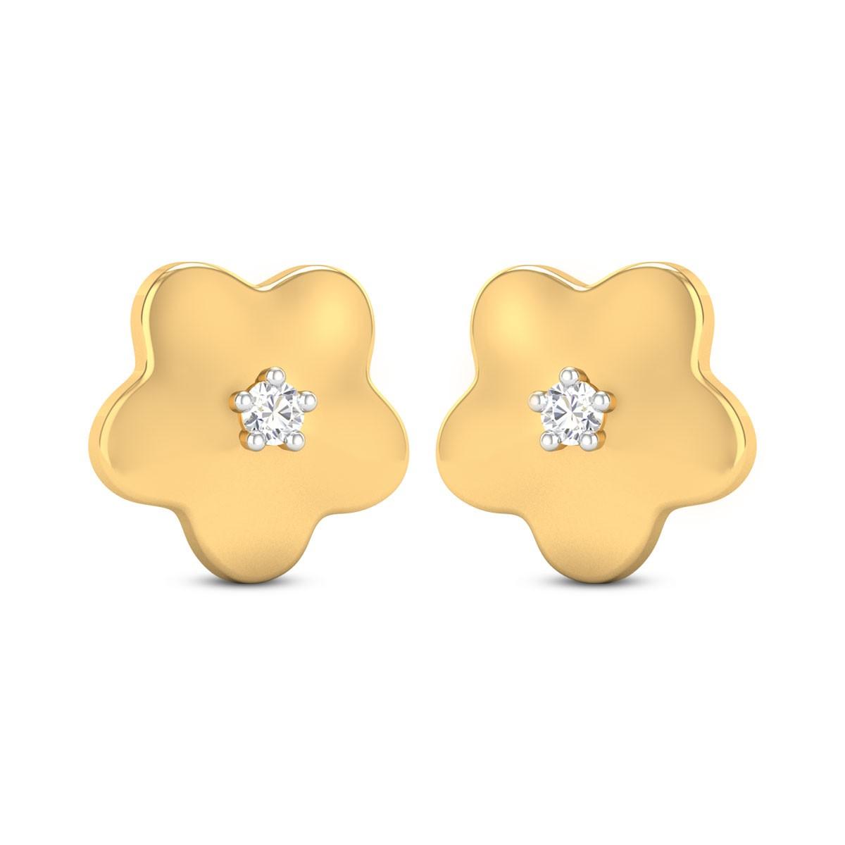 Aliza Girl's Yellow Gold Diamond Earrings