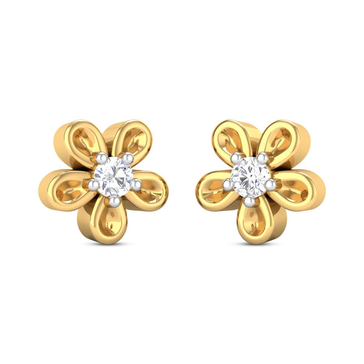 Alcina Girl's Yellow Gold Diamond Earrings