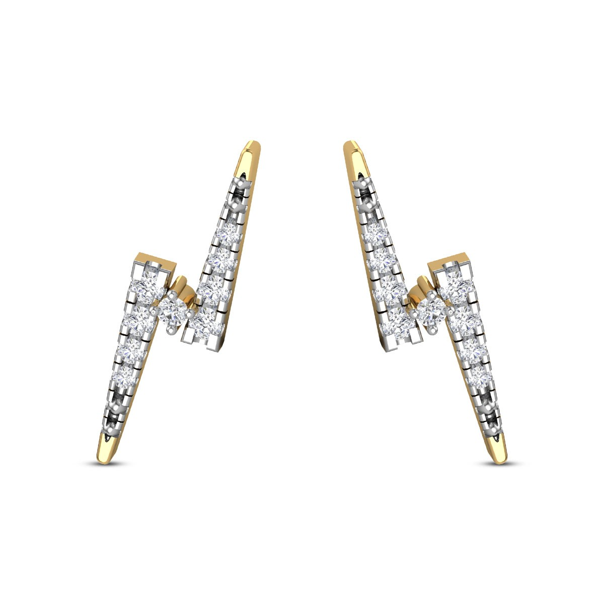 Aura lightening bolt Diamond Earrings