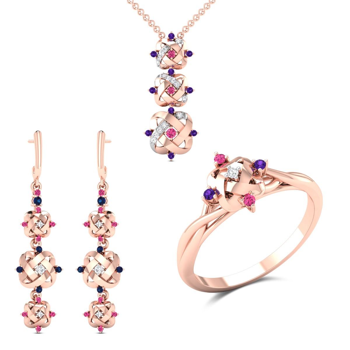 Aida Diamond Tourmaline and Amethyst Set