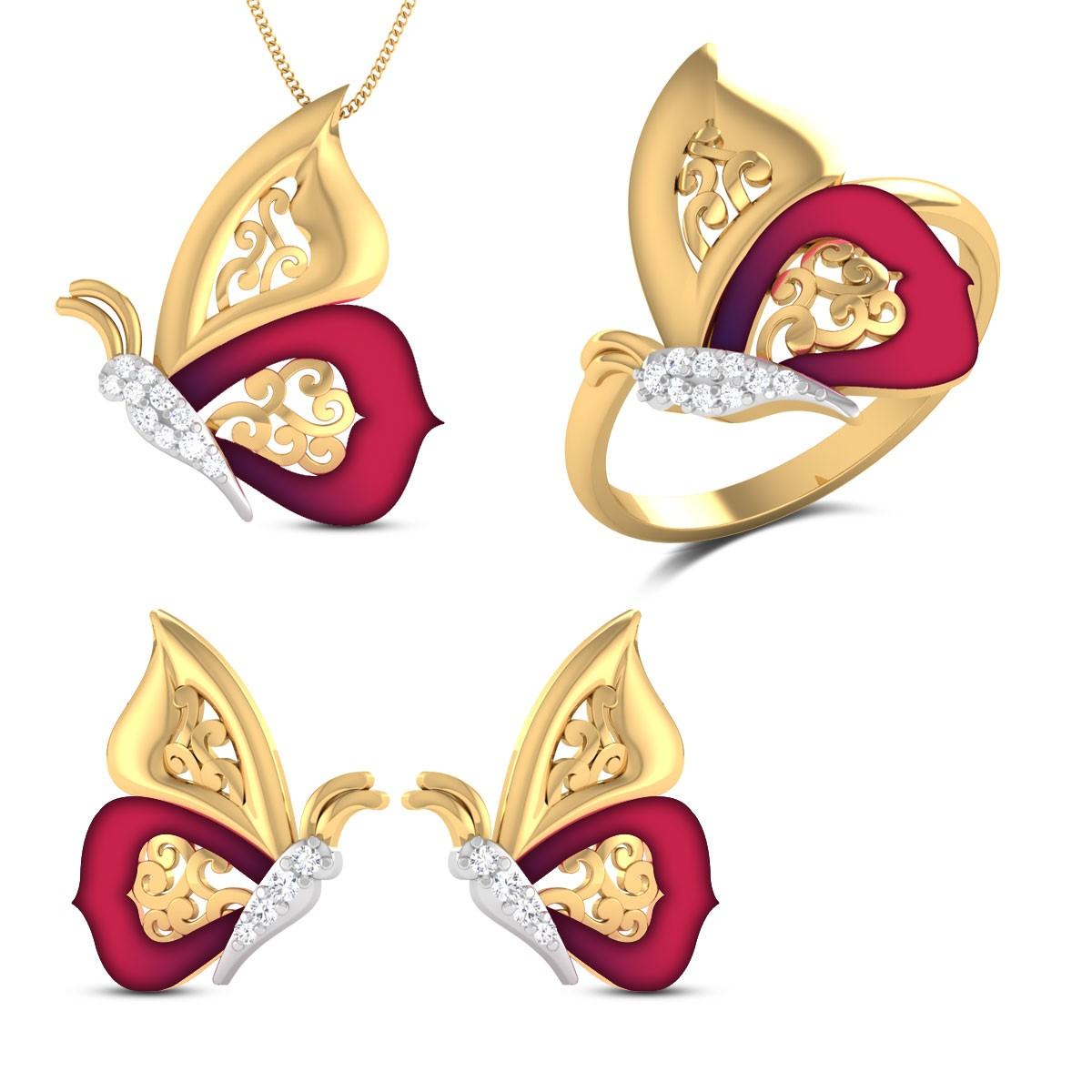 Isha Butterfly Diamond Jewellery Set