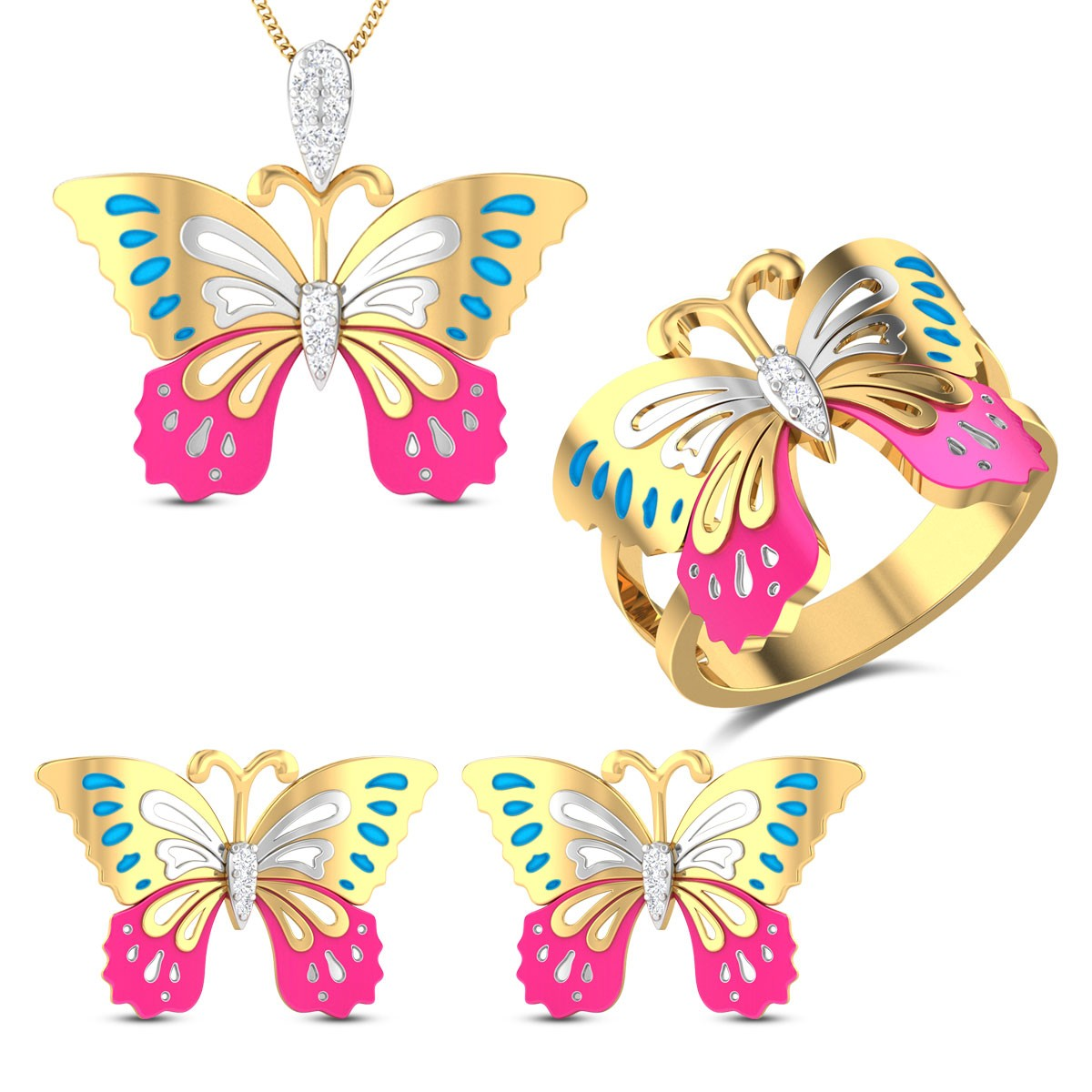 Emma Butterfly Diamond Jewellery Set