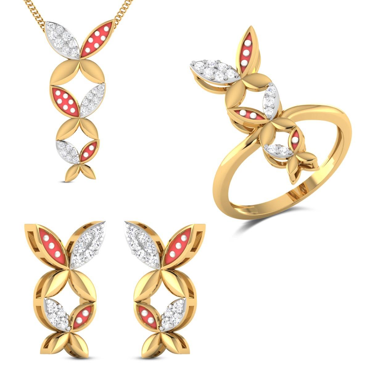 Olivia Yellow Gold Diamond Jewellery Set