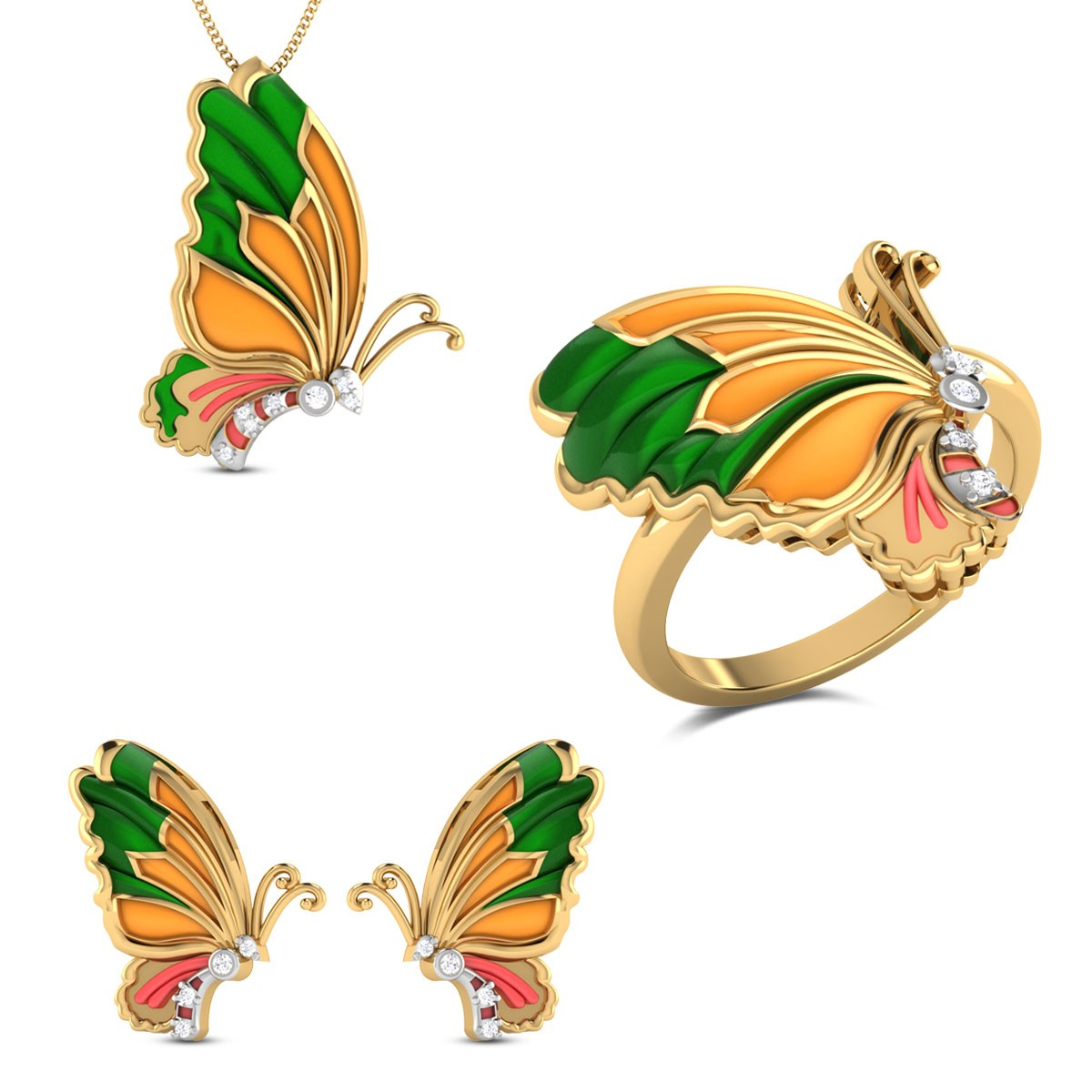 Cressida Yellow Gold Butterfly Diamond Jewellery Set