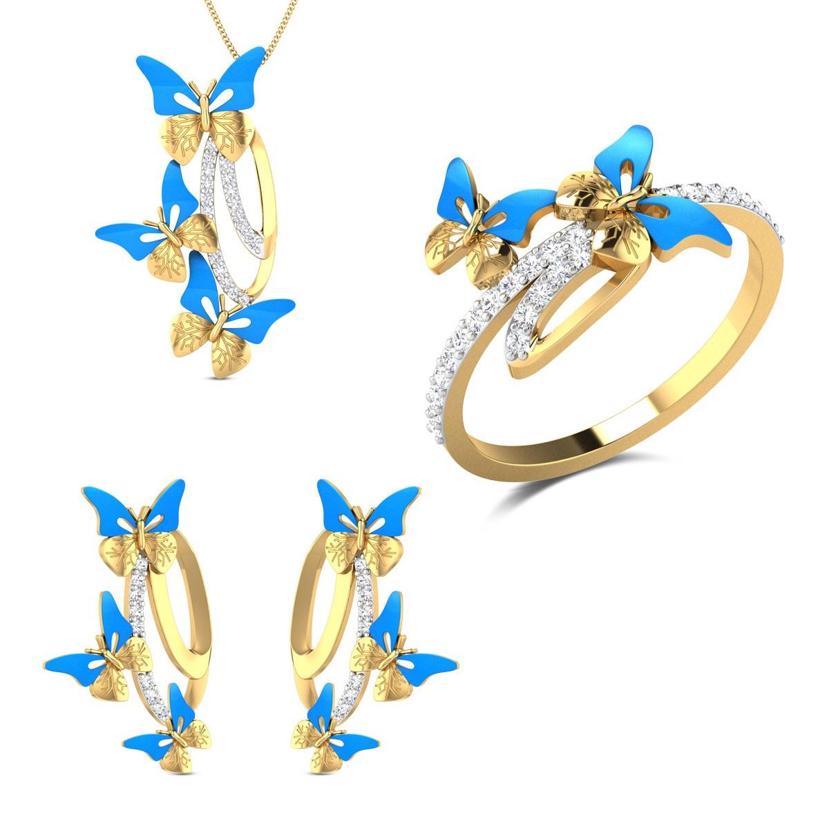 Enos Yellow Gold Butterfly Diamond Jewellery Set