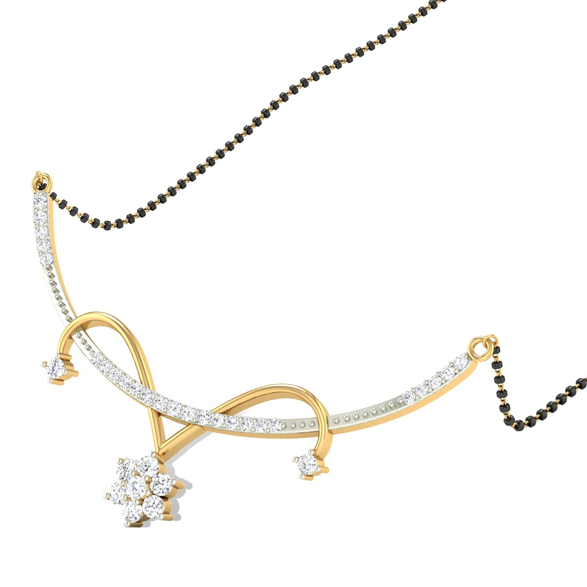 Climbing Flower Diamond Mangalsutra