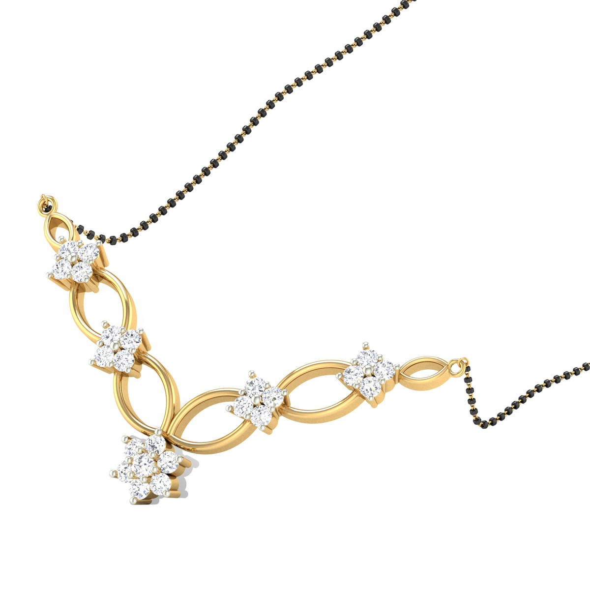 Flower Interlaced Diamond Mangalsutra