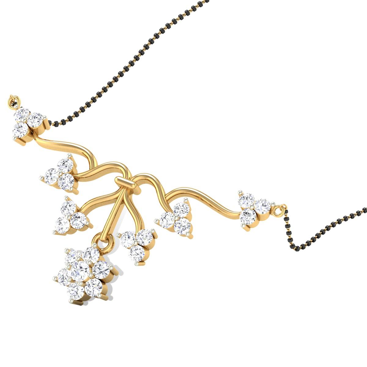 Floral Arrow Diamond Mangalsutra