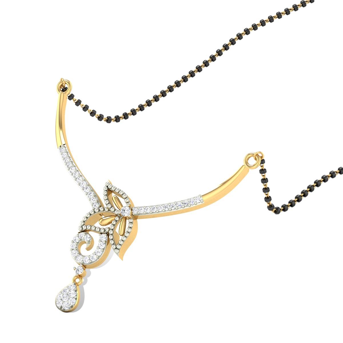 Floral Drop Diamond Mangalsutra