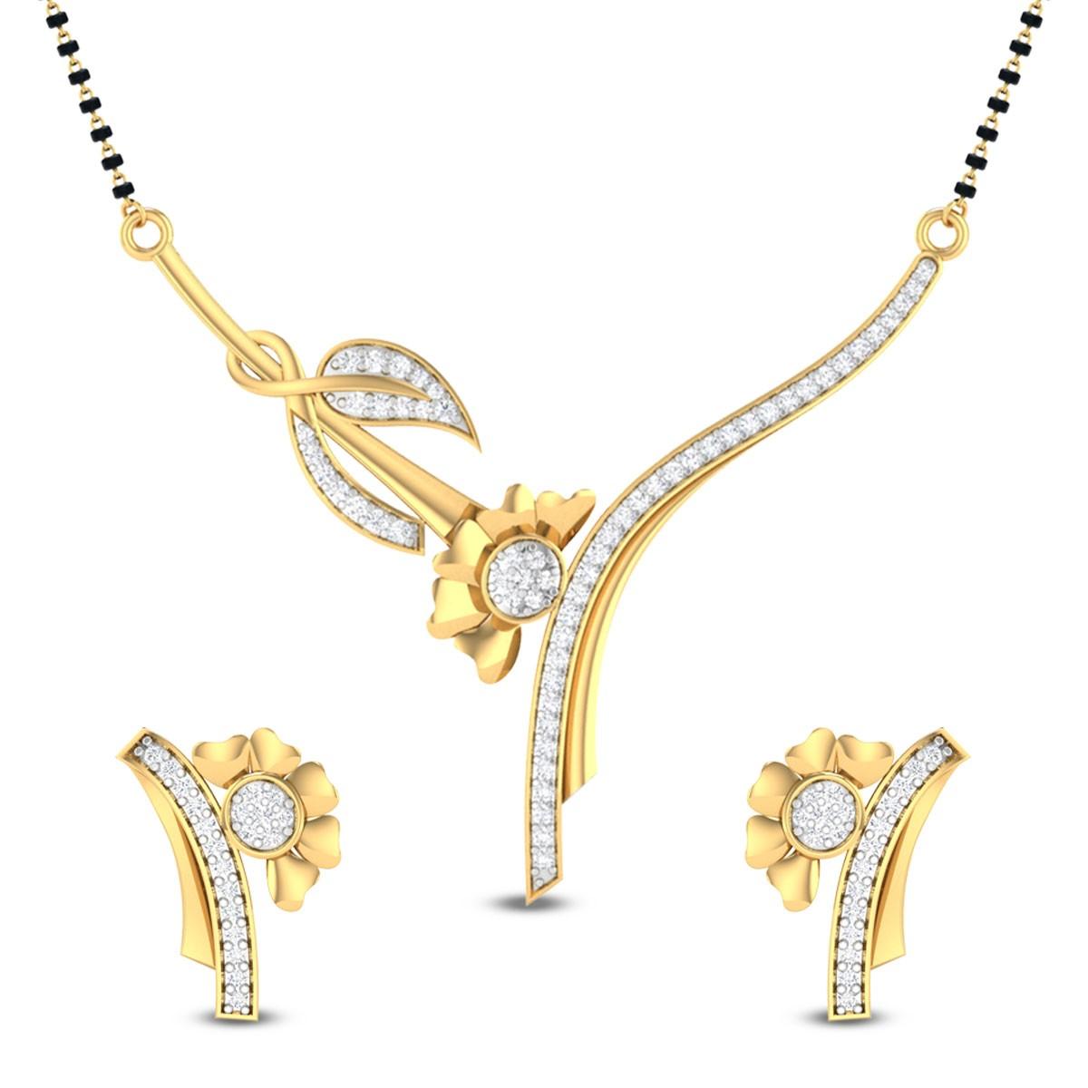 Brinley Leafy Floral Diamond Mangalsutra Set