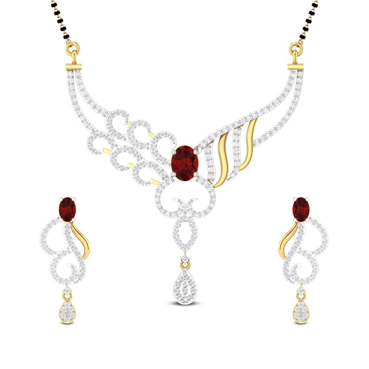 Camari Diamond and Ruby Mangalsutra Set