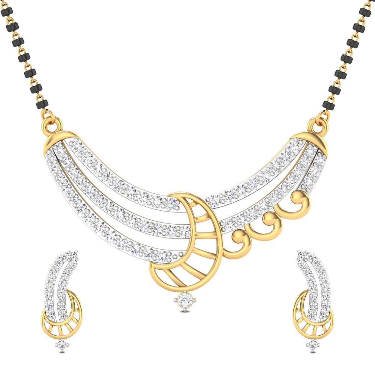 Crescent Moon Diamond Mangalsutra Set