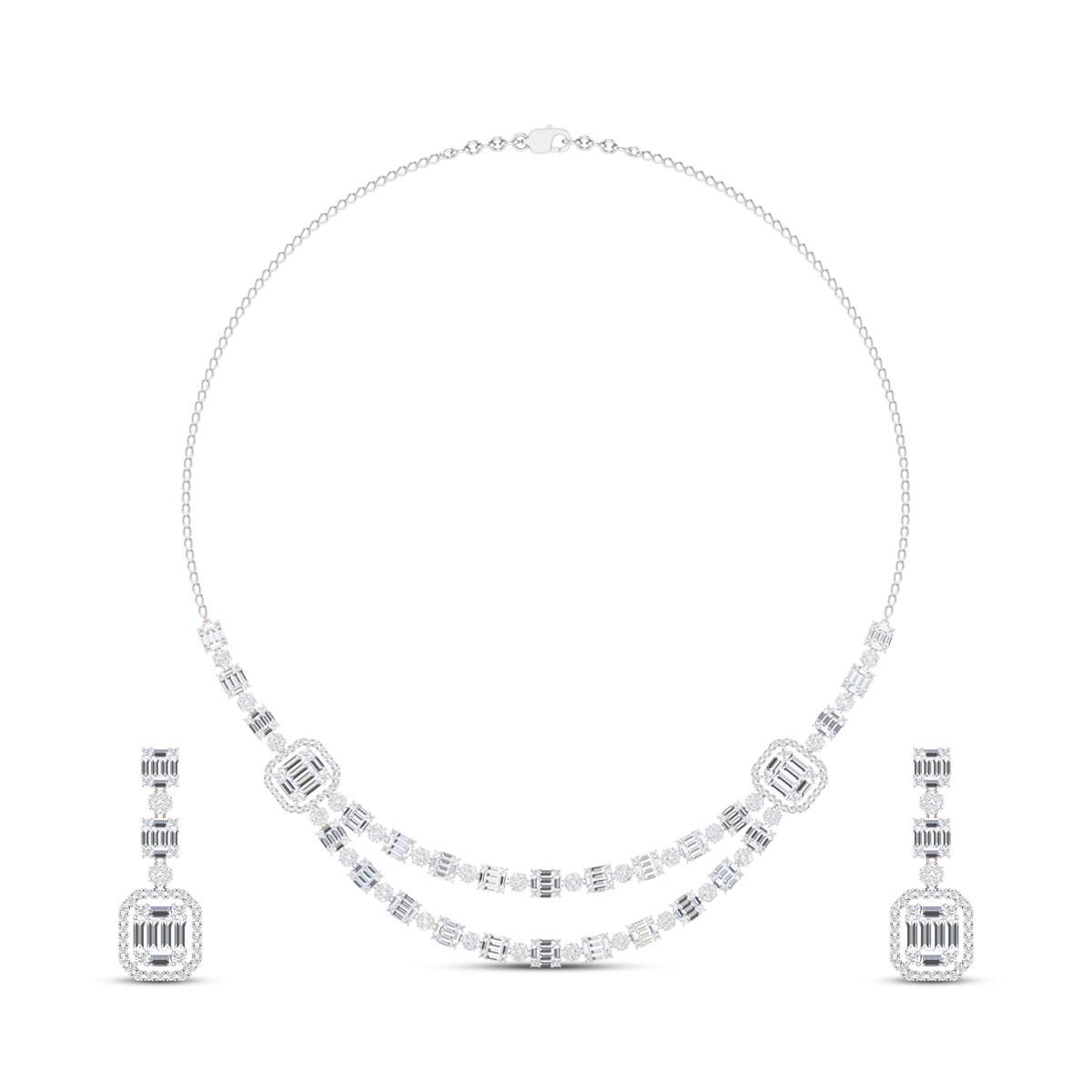Likitha Double Layer Diamond Necklace Set