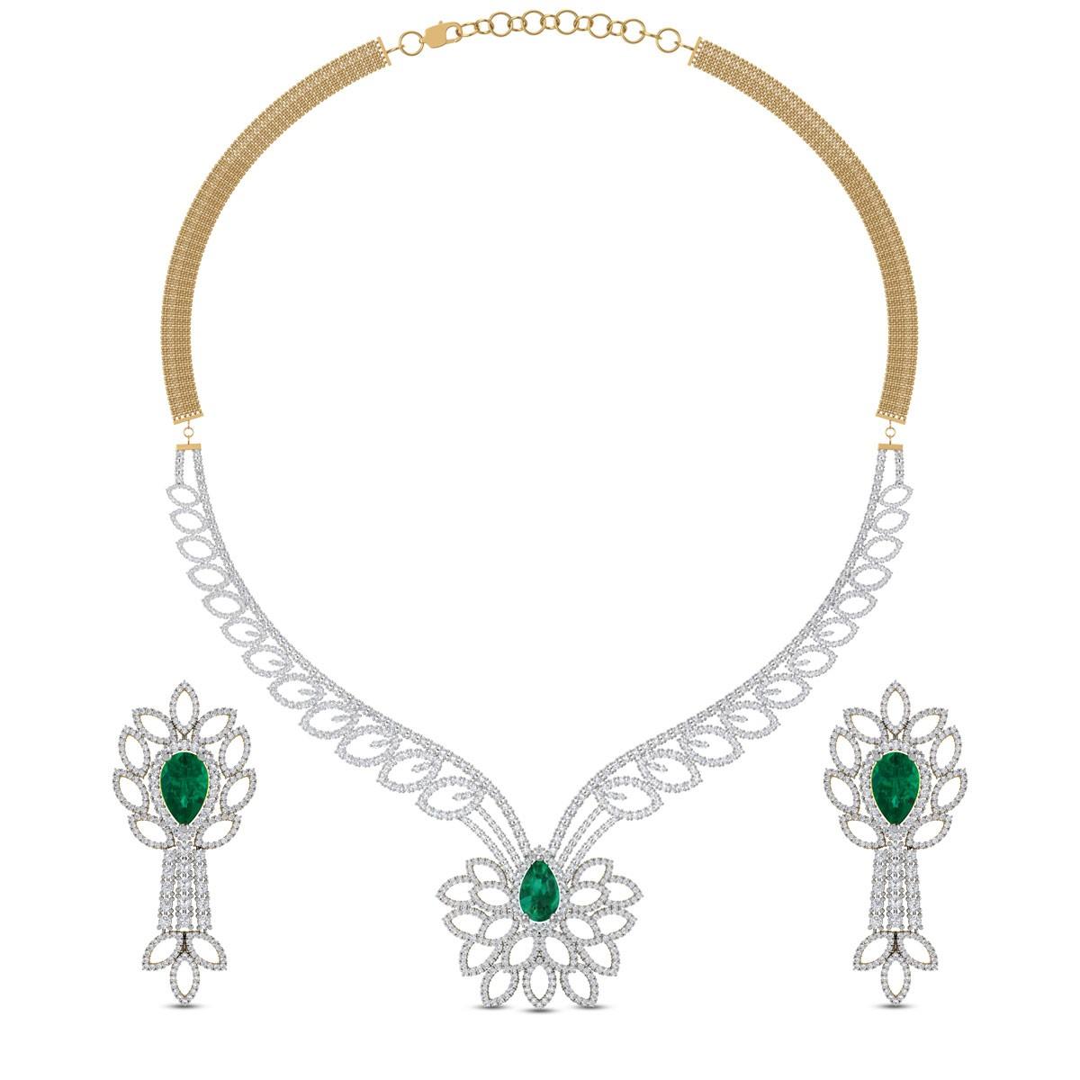Kalya Leafy Diamond and Emerald Necklace Set