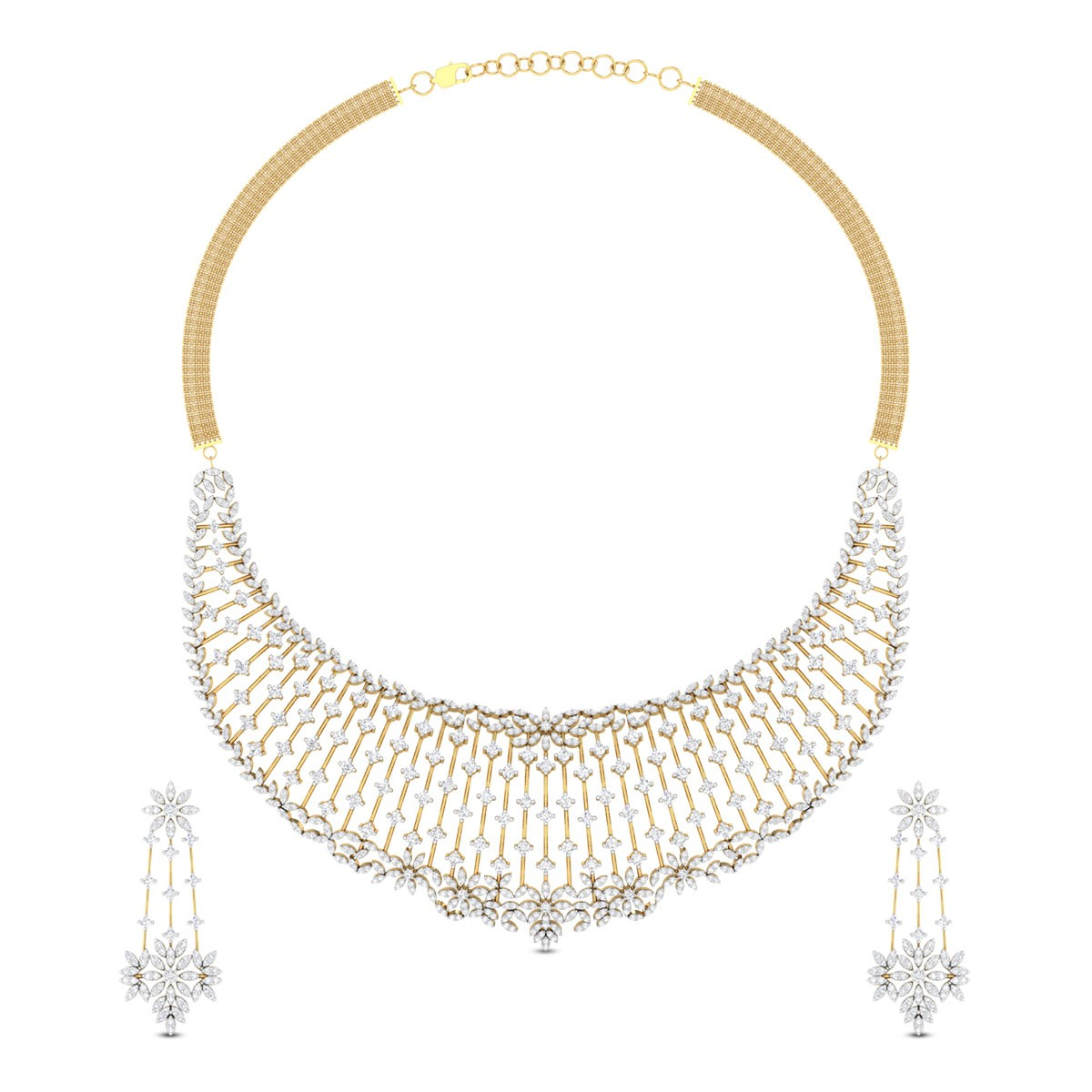 Laghuvi Floral Diamond Necklace Set