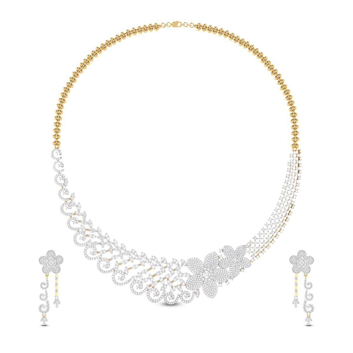Kameela Floral Diamond Necklace Set