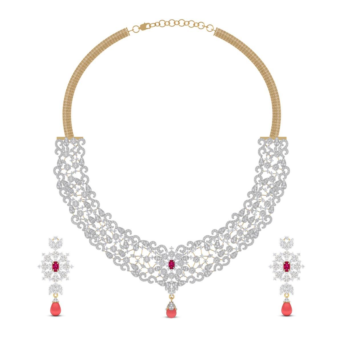 Kaashvi Ruby Drop Diamond Necklace Set