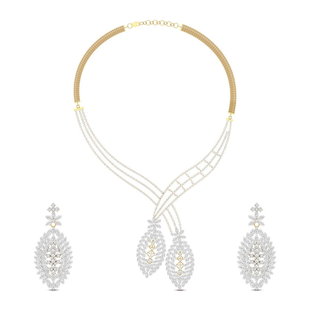 Kushala Floral Diamond Necklace Set