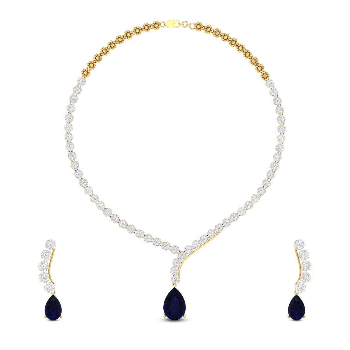 Lovya Sapphire Drop Diamond Necklace Set