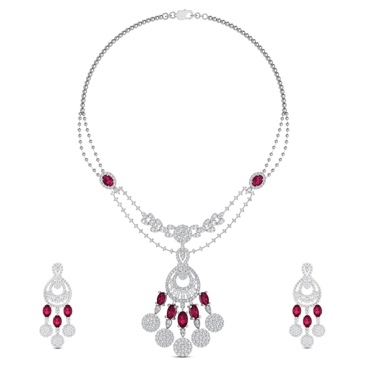 Kamya Diamond Drop Ruby Necklace Set