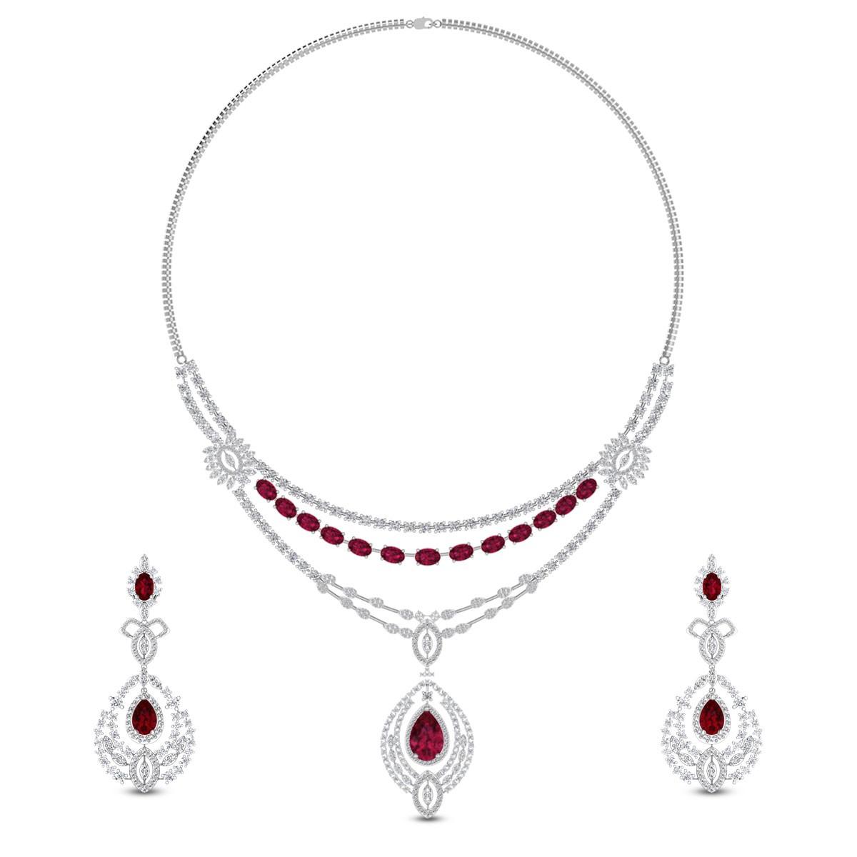 Kannika Diamond and Ruby Necklace Set
