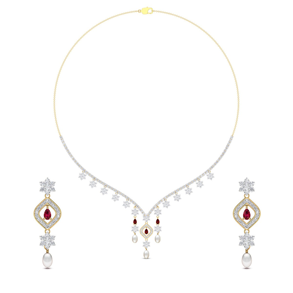 Kaasni Floral Diamond Necklace Set