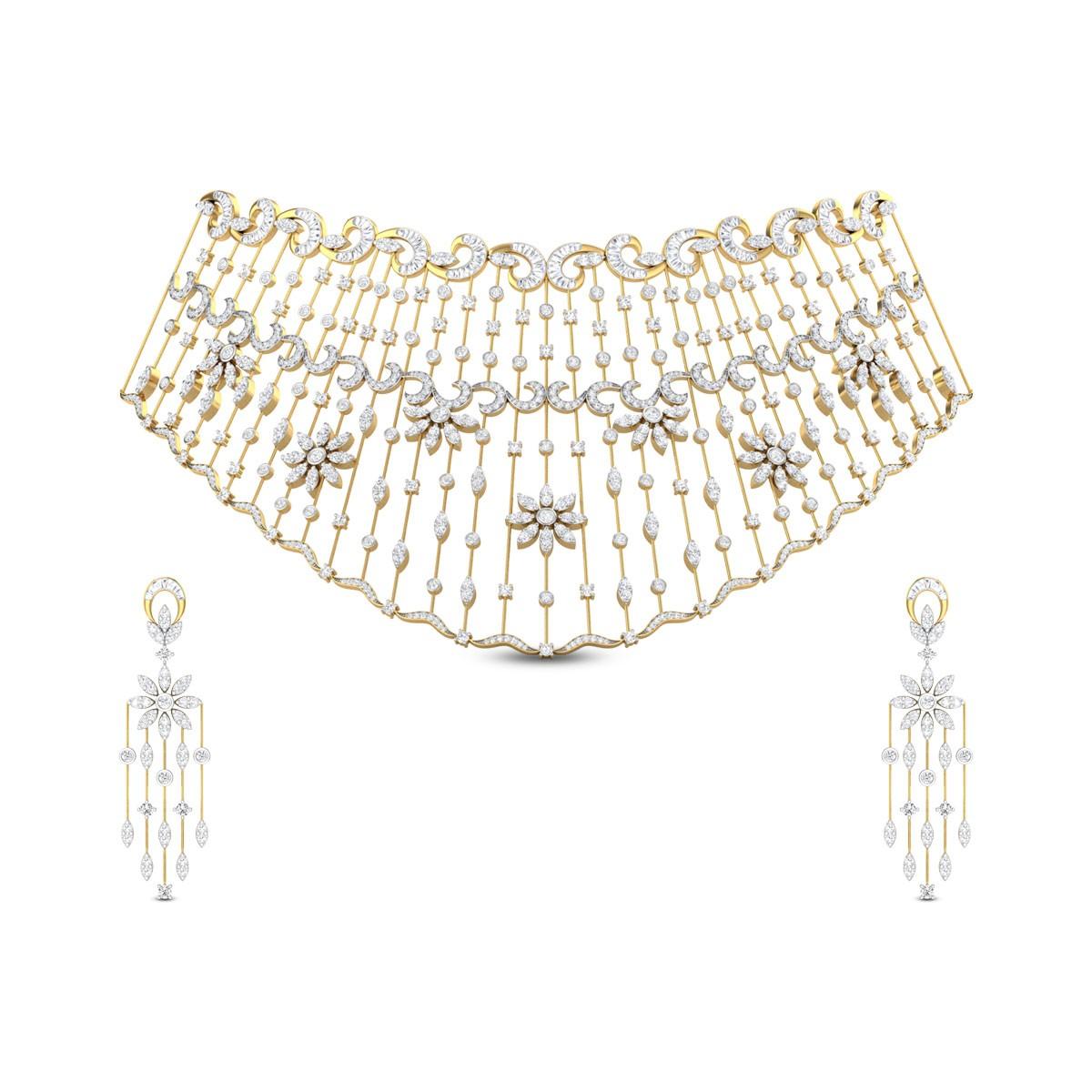 Lajila Floral Diamond Necklace Set