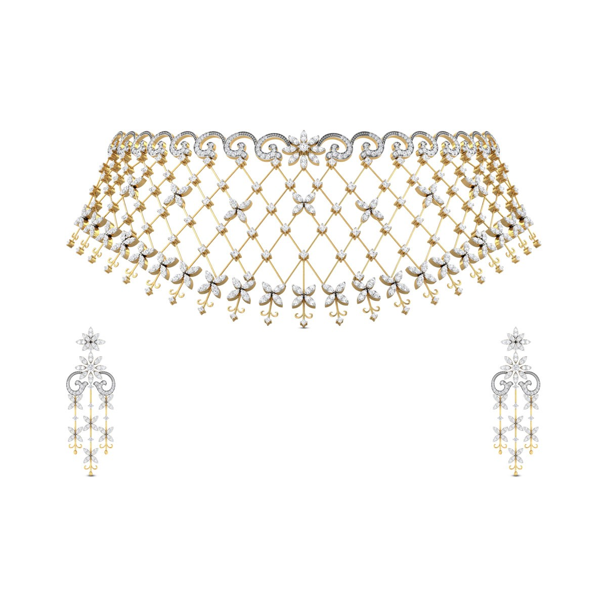 98157bc01eddfc Lekisha Floral Diamond Necklace Set