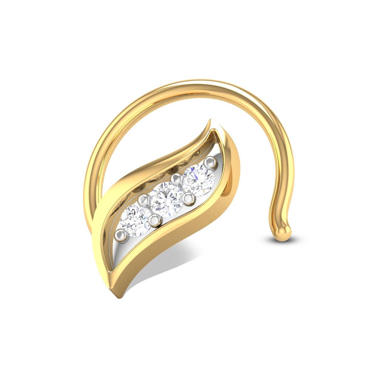 Leafy Three Stone Diamond Nosepin