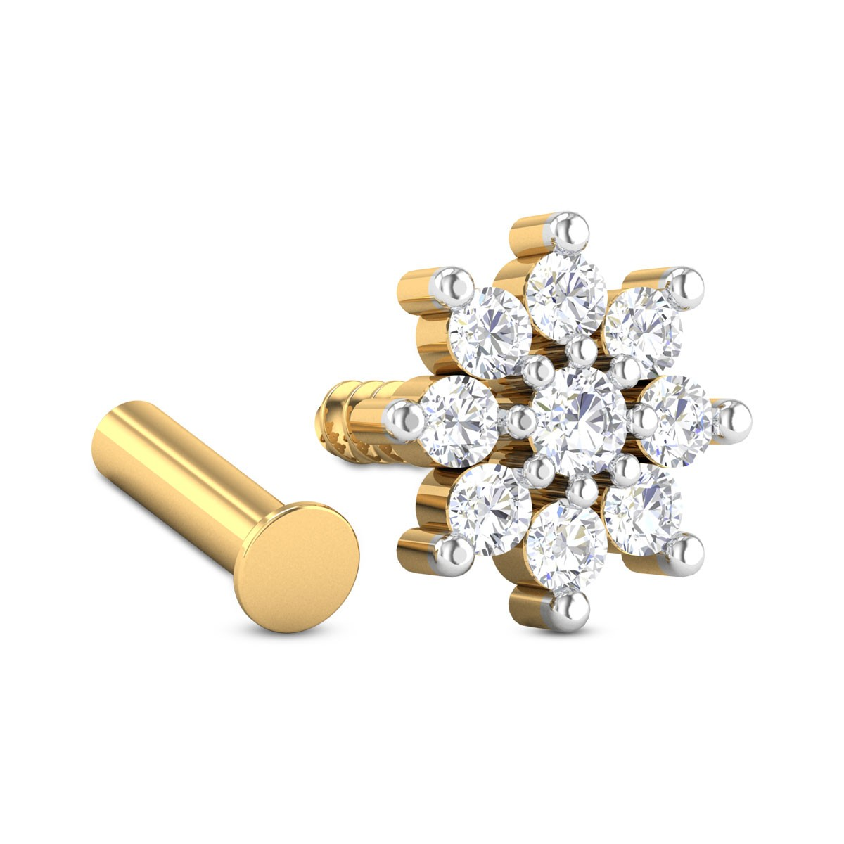 Marley Nine Stone Floral Diamond Nosepin