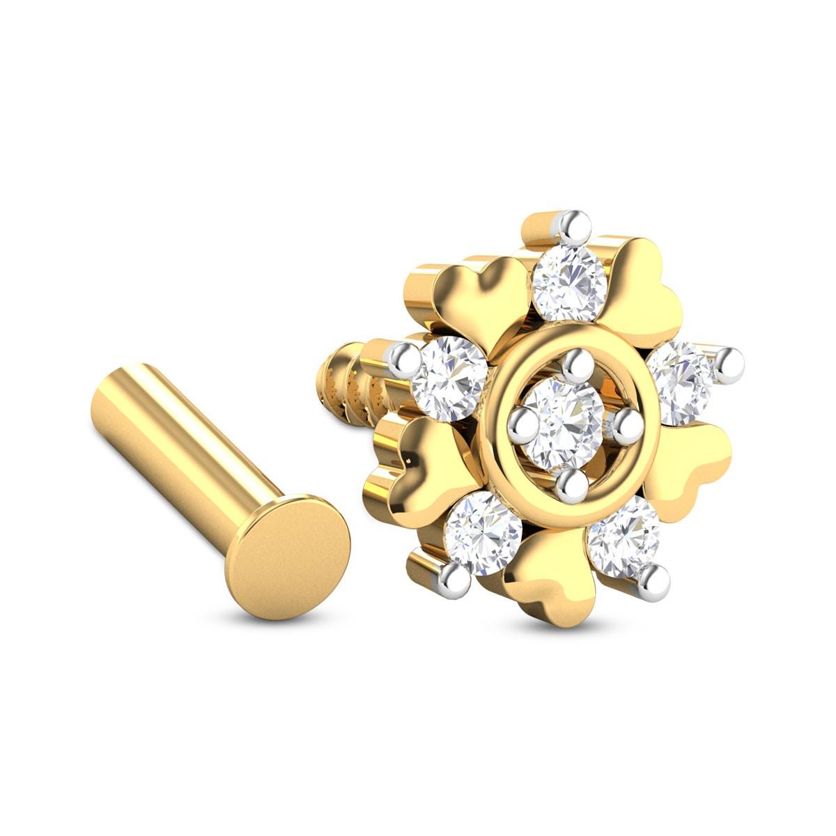 Five Stone Heart Diamond Nosepin