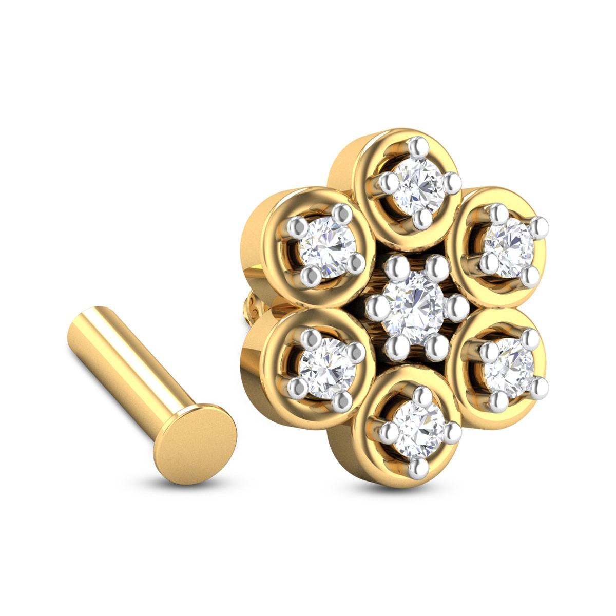 Felicia Seven Stone Floral Diamond Nosepin