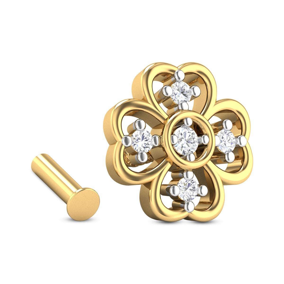 Hutch Five Stone Floral Diamond Nosepin