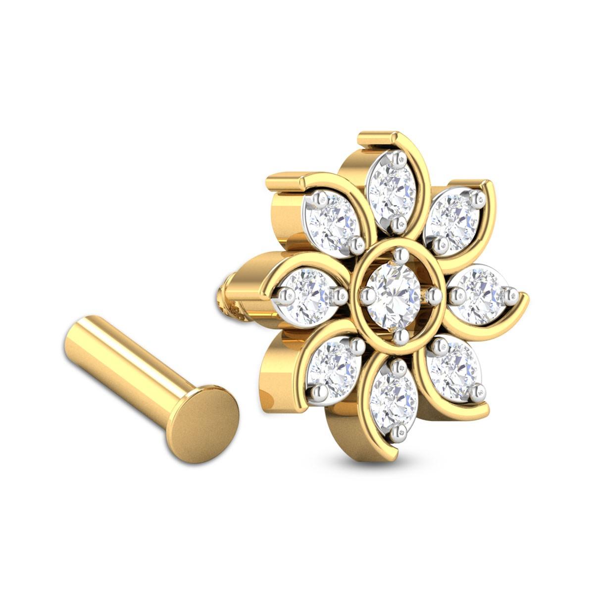 Manjari Nine Stone Floral Diamond Nosepin