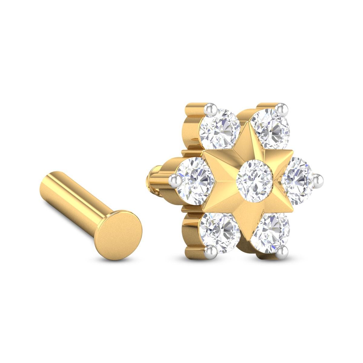 Seven Stone Floral Star Diamond Nosepin