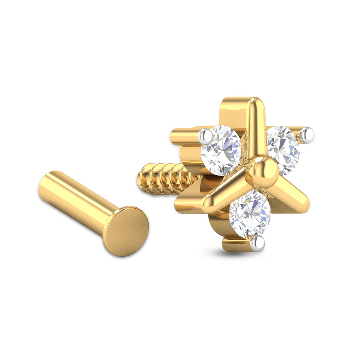 Jazlyn Three Stone Floral Diamond Nosepin