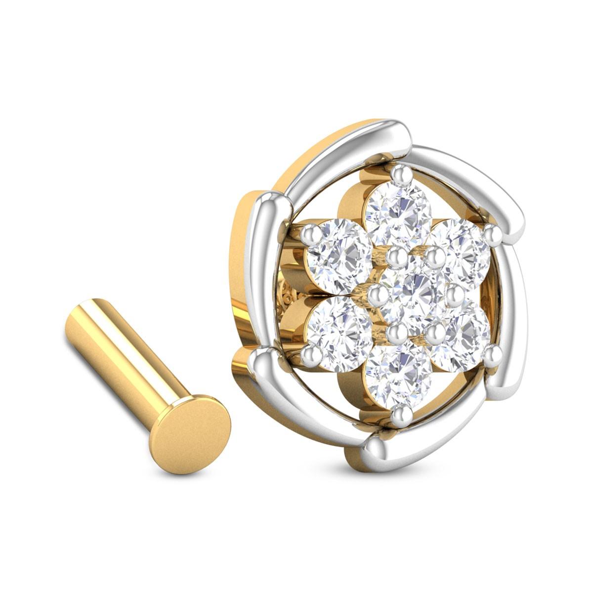 Roxanne Seven Stone Floral Diamond Nosepin