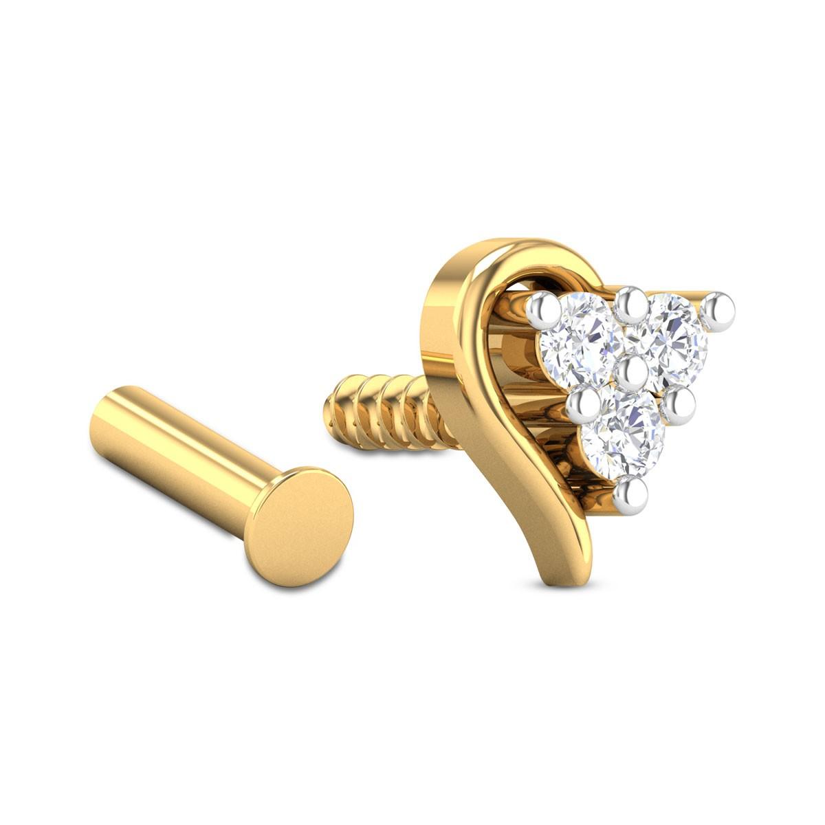 Atarah Three Stone Diamond Nosepin