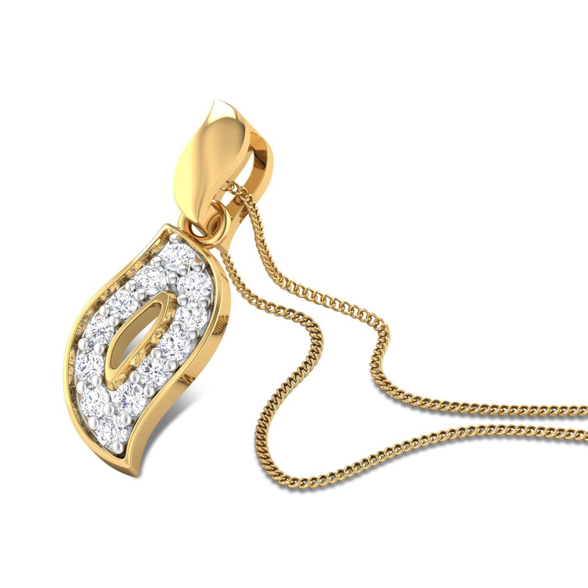Flaming leaf Diamond Pendant