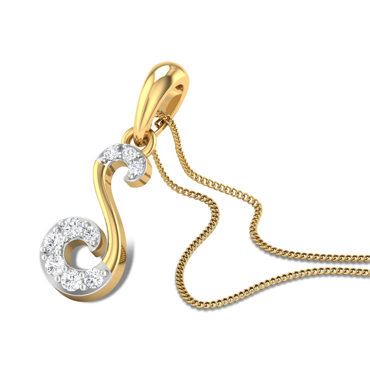 Oleander Diamond Studded Gold Pendant DJPN5196