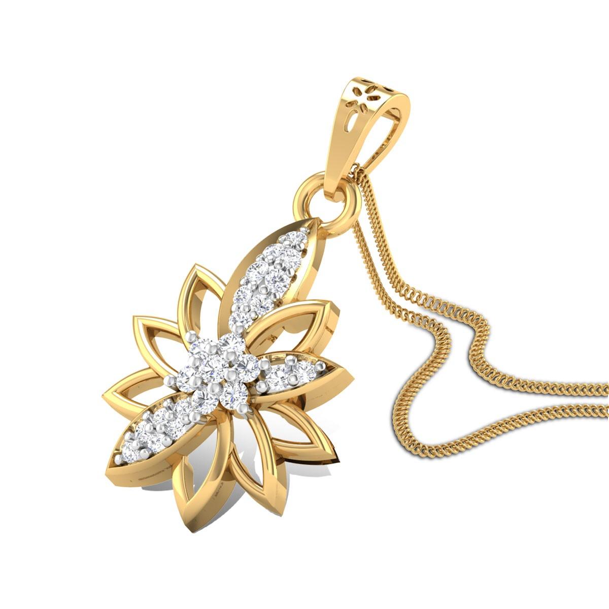 Crossandra Diamond Pendant
