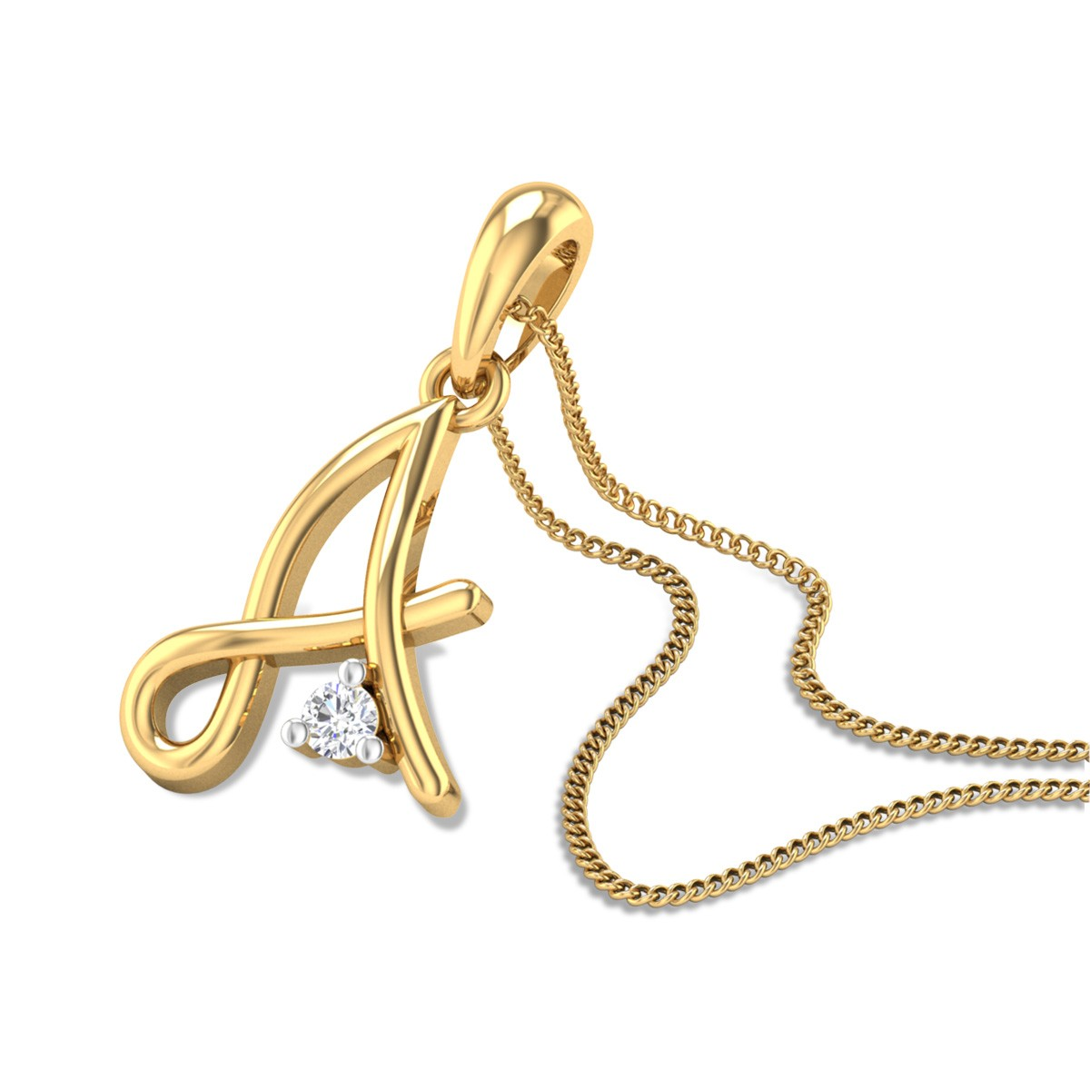 Initial A Diamond Pendant