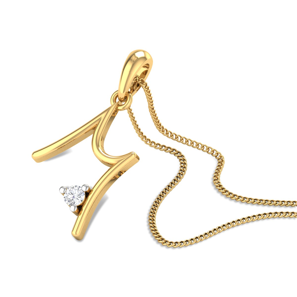 Initial M Diamond Pendant