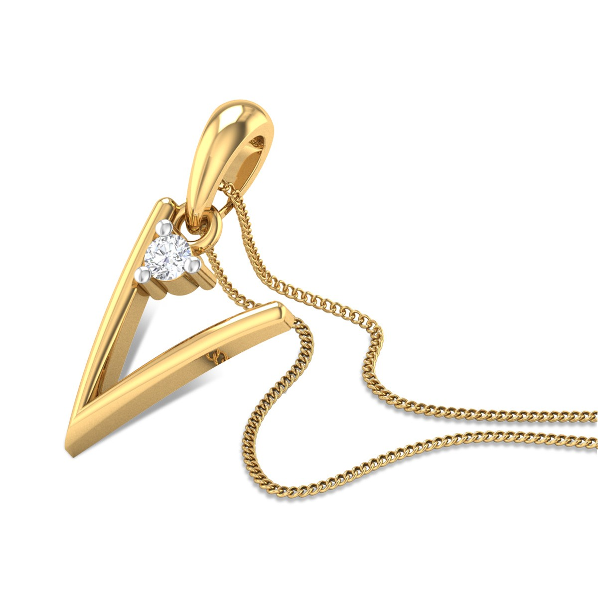 Initial V Diamond Pendant