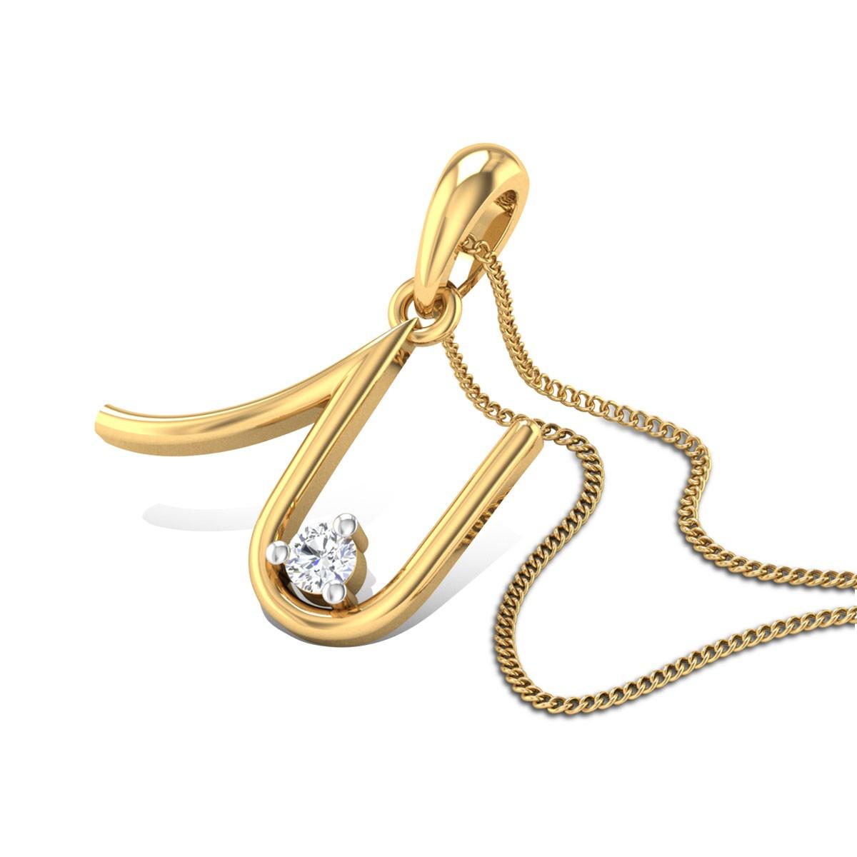 Initial U Diamond Pendant