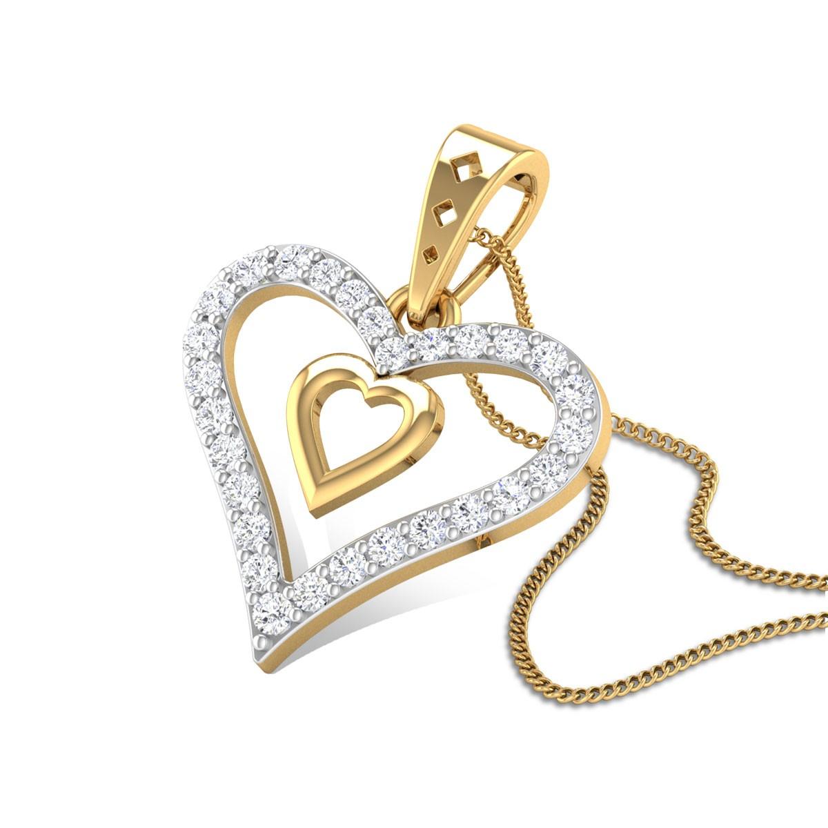 Camellia Heart Diamond Pendant