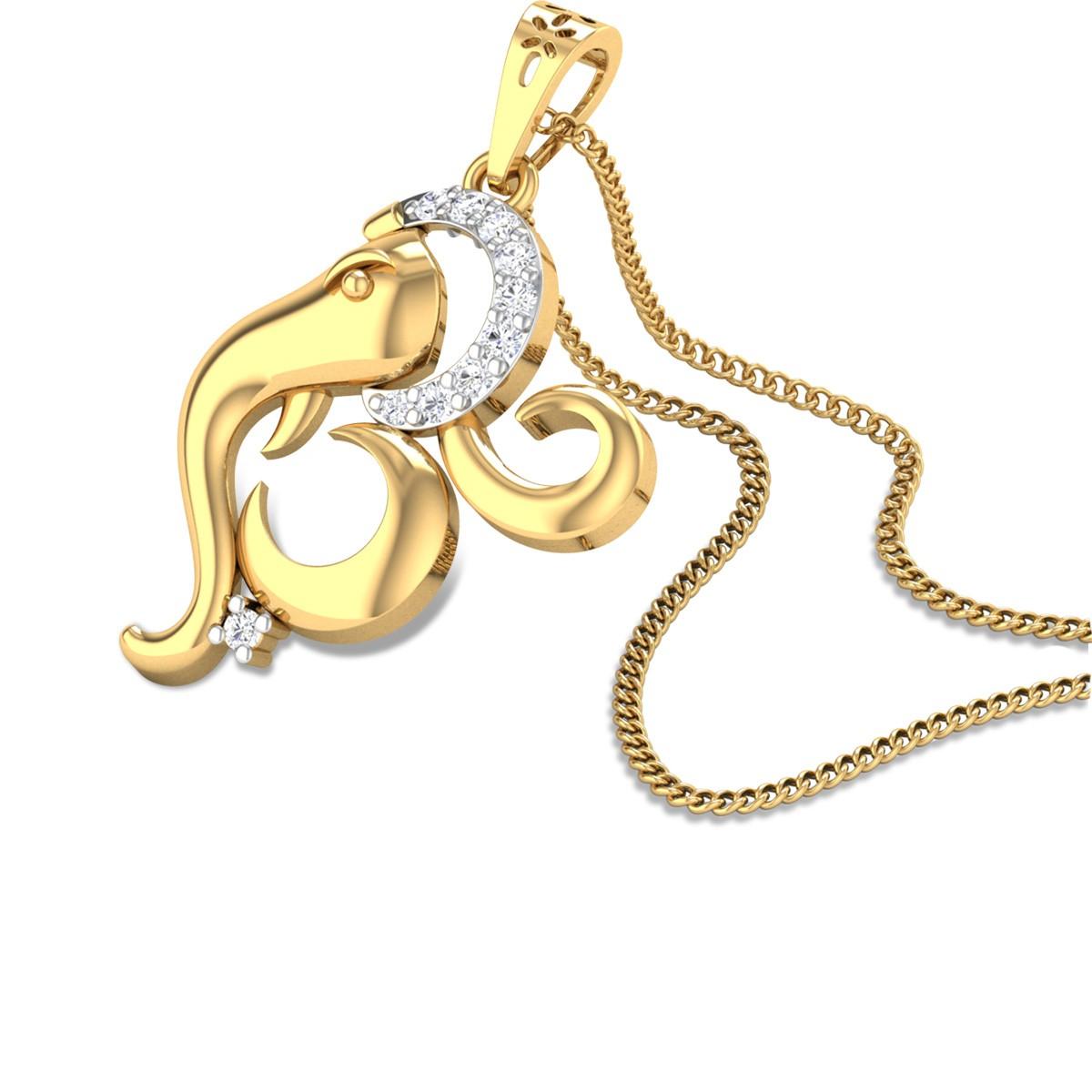 Om Ganesh Diamond Pendant