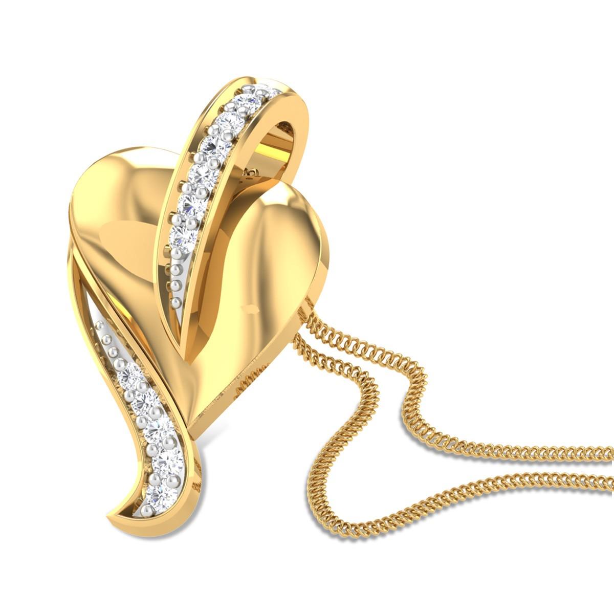Peepal Leaf Diamond Pendant