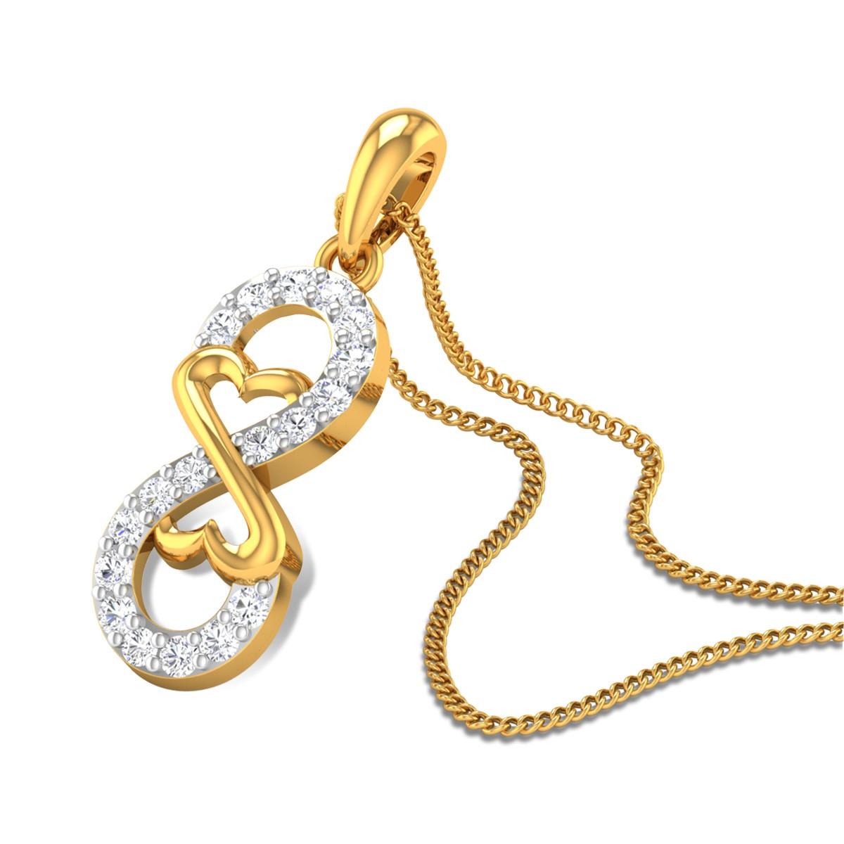 Heart and Infinity Diamond Pendant