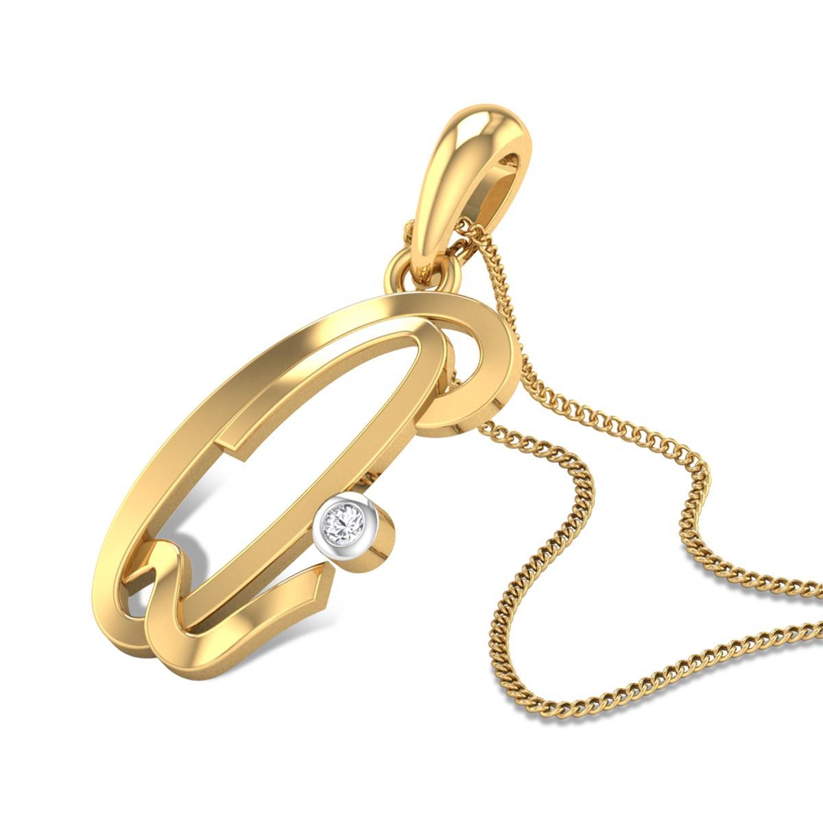 Italic Initial Q Diamond Pendant